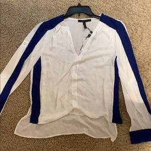 NWT BCBG Top Blue and white small long sleeve top